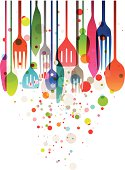 Beautiful vector illustration with multicolored silverware for all kind of food related designs