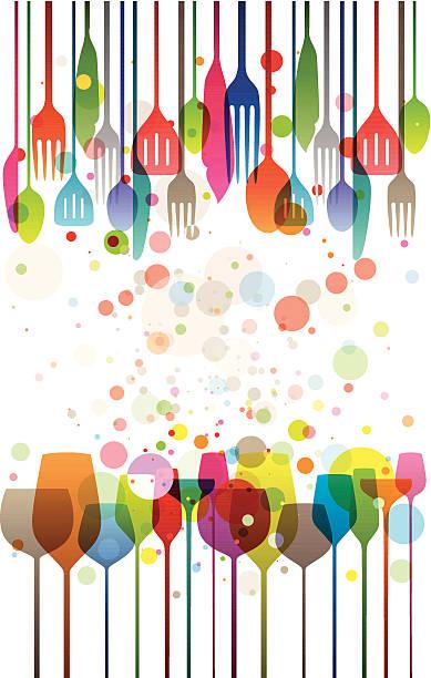 illustrazioni stock, clip art, cartoni animati e icone di tendenza di felice festa - tavola imbandita