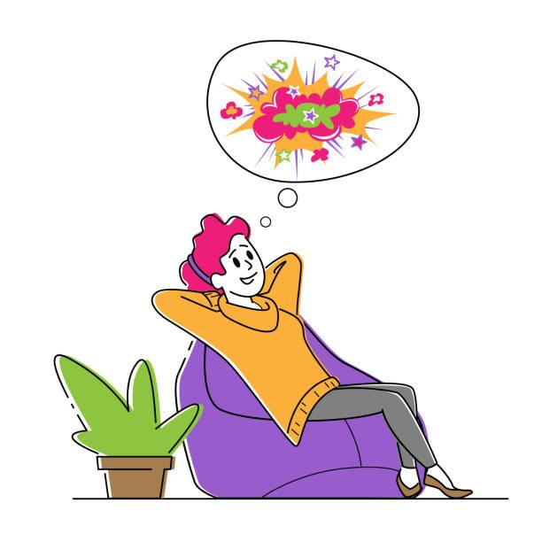 bildbanksillustrationer, clip art samt tecknat material och ikoner med glad kvinnlig karaktär sitter på bekväm beanbag fåtölj i avslappnad hållning dreaming och föreställa färgglada bilder - endast vuxna