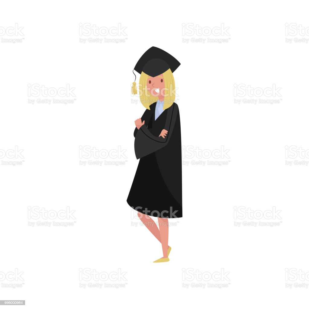 Happy Female Graduate Smiling Graduation Student Girl In Gown And ...