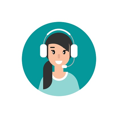 Happy female operator with headphones and microphone in blue circle.