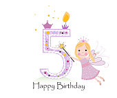 Happy fifth birthday candle. Baby girl greeting card with fairy tale