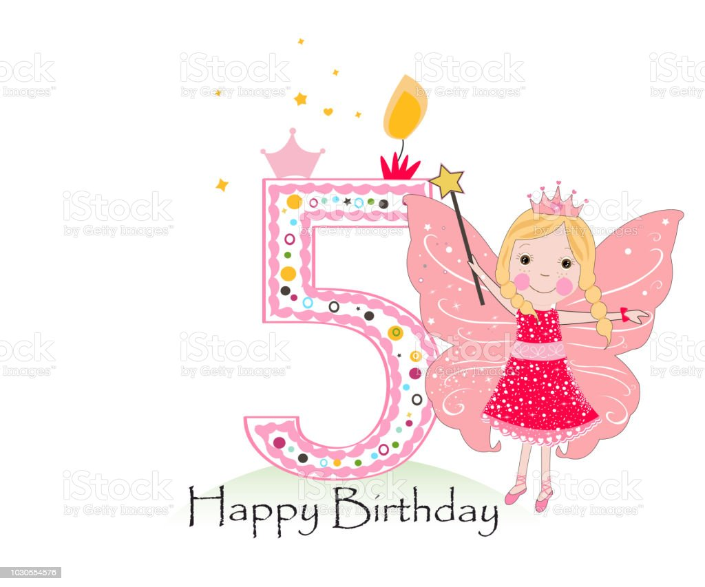 Happy Fifth Birthday Candle Girl Greeting Card With Cute Fairy Tale