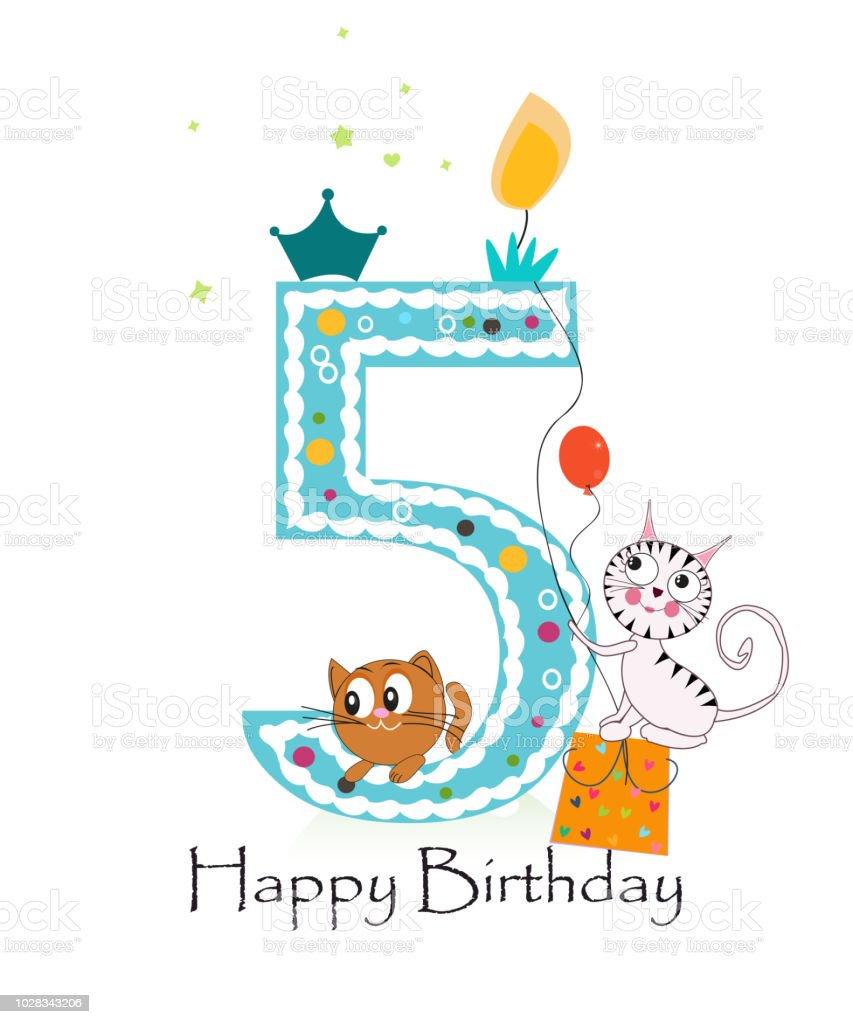 Happy Fifth Birthday With Cats Baby Boy Greeting Card Stock Vector