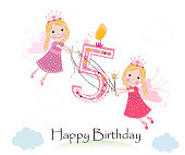Happy fifth birthday with cute fairy tale greeting card