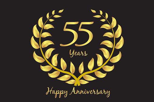 Happy fifty five 55th anniversary gold wreath invitation card design vector template