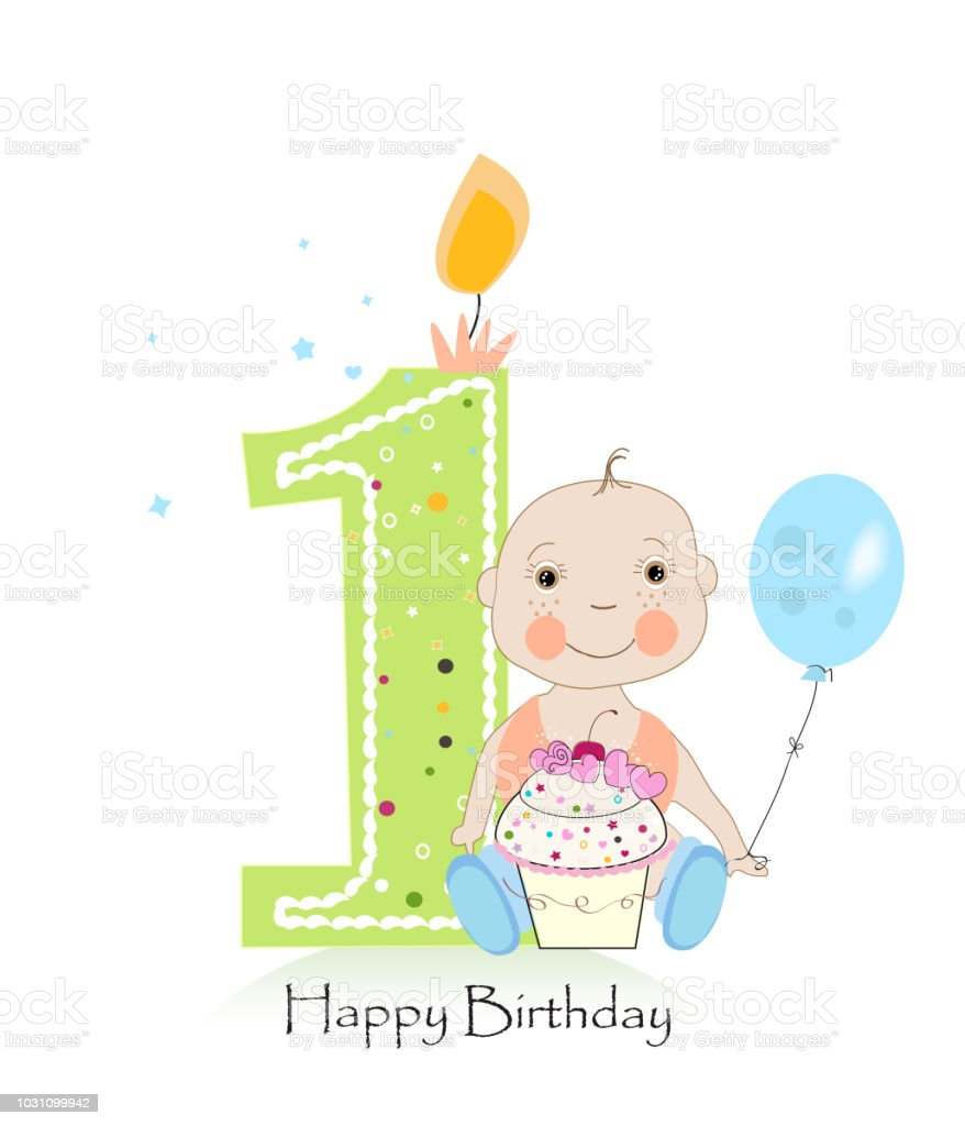 Happy First Birthday Greeting Card One Candle With Baby Boy