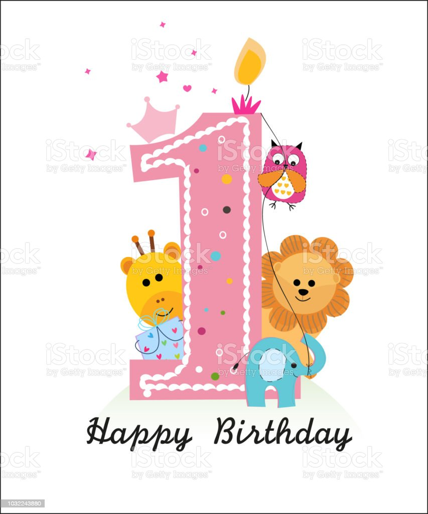 Happy First Birthday With Animals Baby Boy Greeting Card Stock