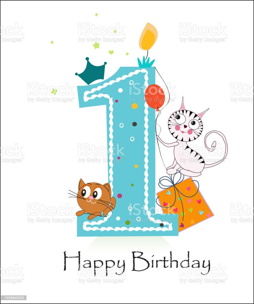 Happy First Birthday With Cute Cats Baby Boy Greeting Card Royalty Free