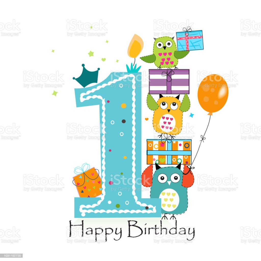 Happy First Birthday With Owls And Gift Box Baby Boy Greeting Card