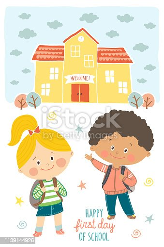 Happy first day of school card design. Kids going to school. Smiling boy and girl in school uniforms with backpacks in schoolyard. School building exterior. Cartoon vector illustration in flat style