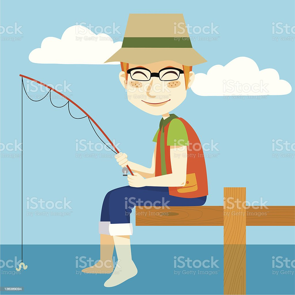 Happy Fisher vector art illustration