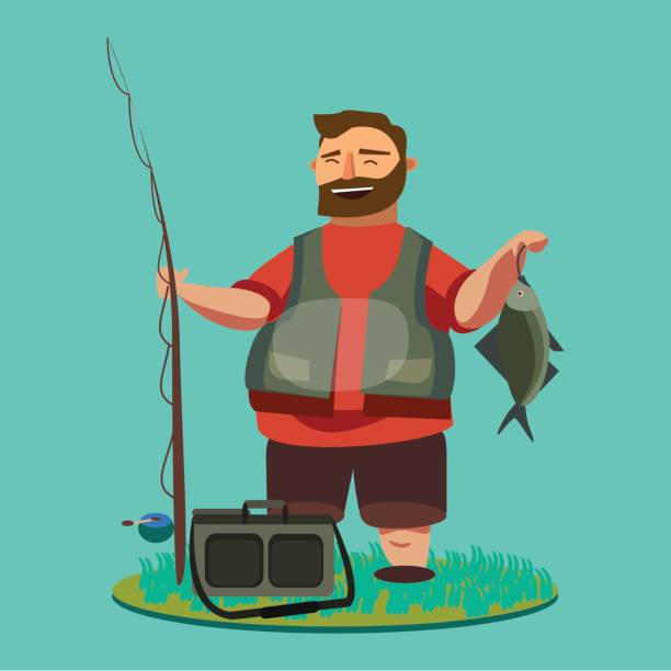 ilustrações de stock, clip art, desenhos animados e ícones de happy fisherman stands and holds in hand fishing rod with spinning and fish catch, bag with fishman spin and equipment, funny cartoon vector illustration, man s active vacation concept - fishman