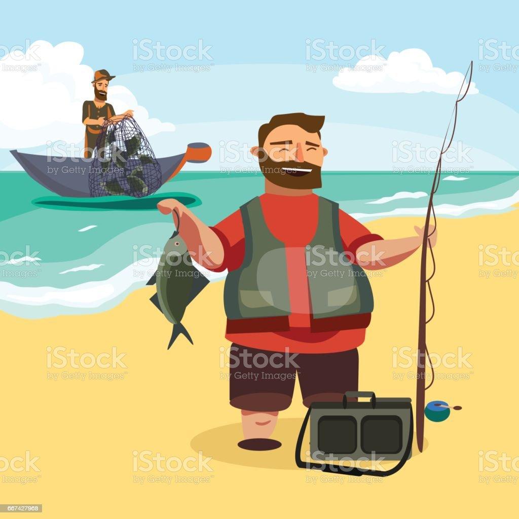 Glückliche Fischer steht und hält in der hand Angelrute mit Spinnen und Fische zu fangen, Tasche mit Fishman Spin und Ausrüstung, lustige Comic-Vektor-Illustration, Mann Aktivurlaub Banner oder Flyer-Konzept – Vektorgrafik