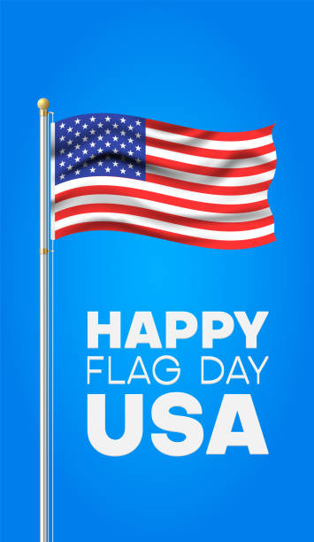 Happy flag day. Blue greeting card with flag of USA on flagpole. vector art illustration