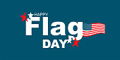 Happy Flag Day greeting card, sale flyer, banner, poster with american flag with stars and ribbon.  Flag day holiday in USA.  Patriotic white font on blue background. Vector illustration