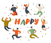 Happy Flat People Characters. Jumping, Dancing Cartoons in Various Poses. Happiness, Freedom, Joy Concept. Vector illustration