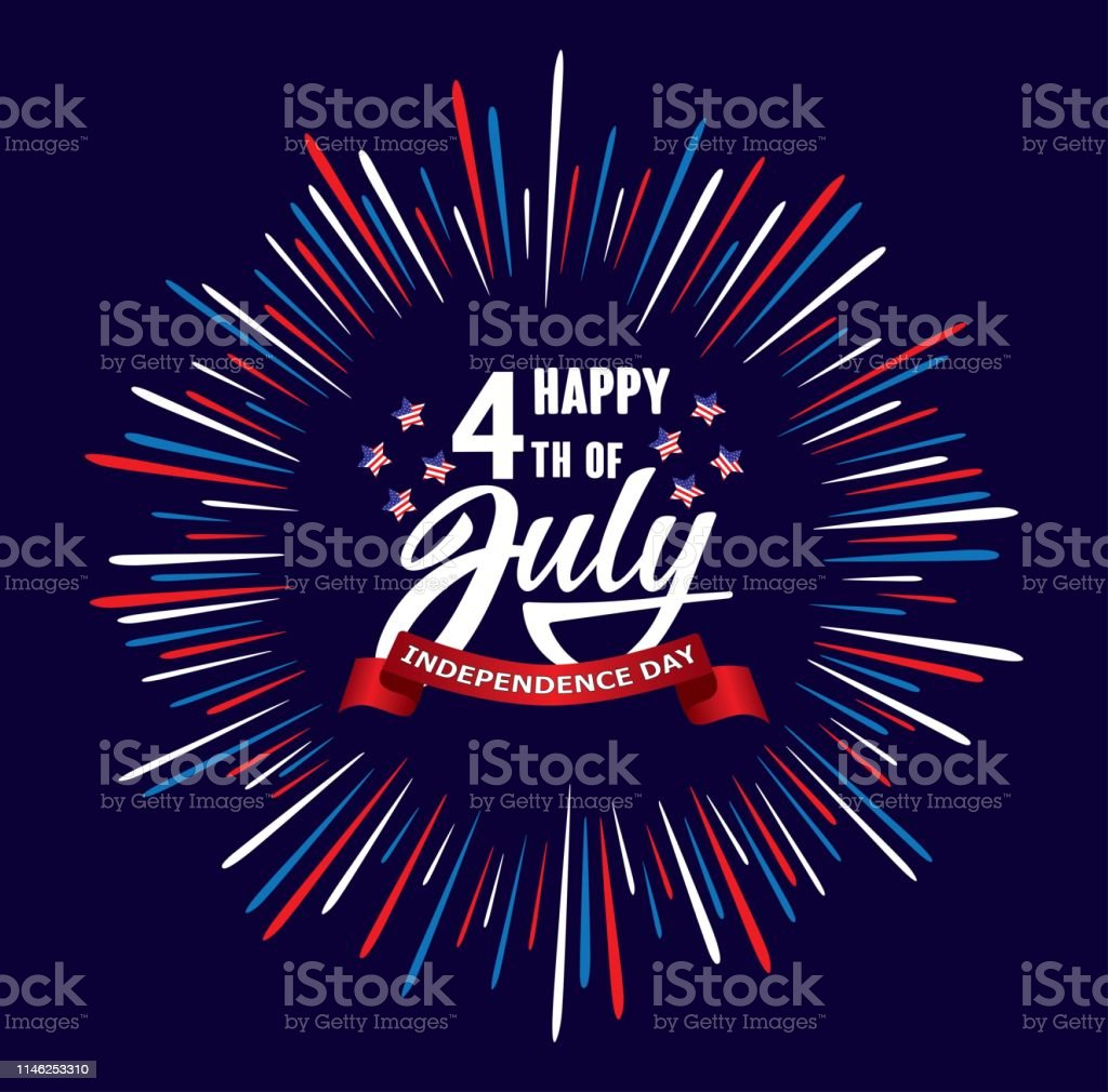 Happy fourth 4 of July Independence day USA  handwritten phrase with stars, American flag and firework. Happy fourth 4 of July Independence day USA  handwritten phrase with stars, American flag and firework. Vector lettering illustration. American Culture stock vector