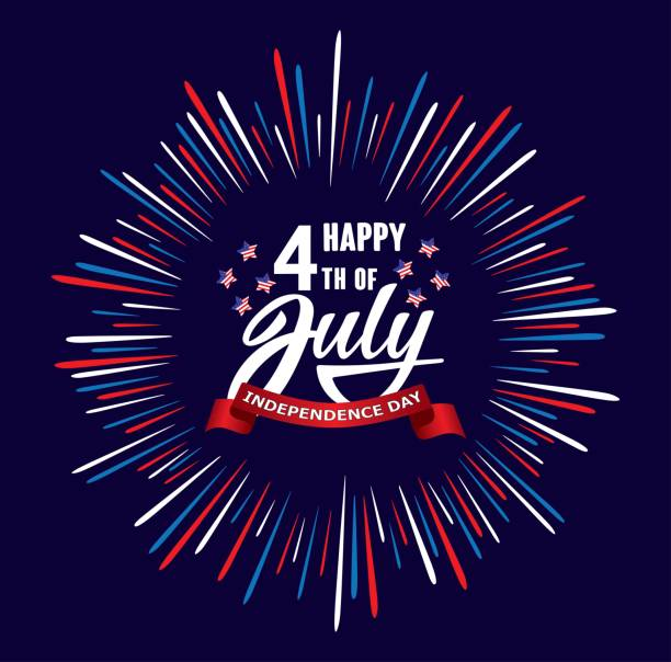 Happy fourth 4 of July Independence day USA  handwritten phrase with stars, American flag and firework. vector art illustration