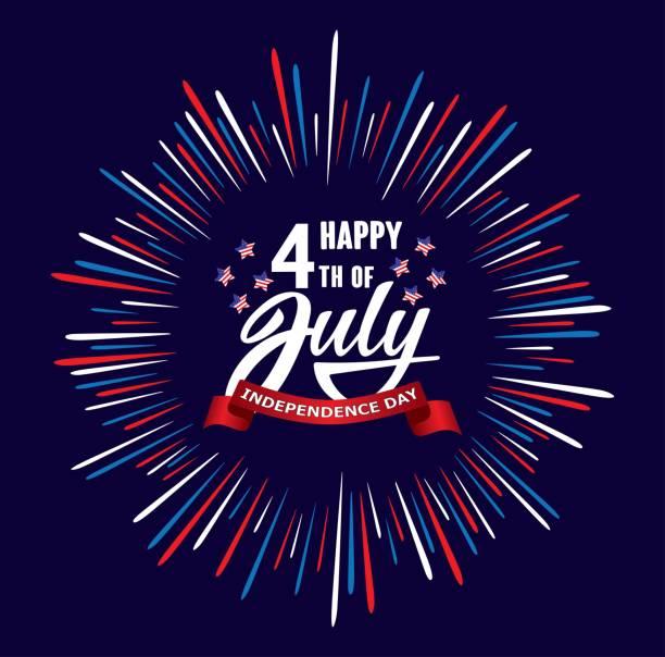 快樂第四日獨立日美國手寫短語與星, 美國旗子和煙花。 - happy 4th of july 幅插畫檔、美工圖案、卡通及圖標