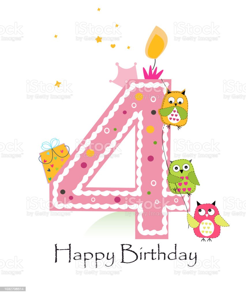 Happy Fourth Birthday With Owls Baby Boy Greeting Card Stock Vector