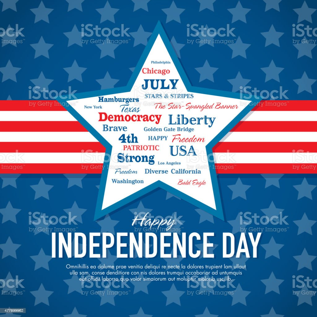 Happy Fourth of July Celebration greeting card design template vector art illustration
