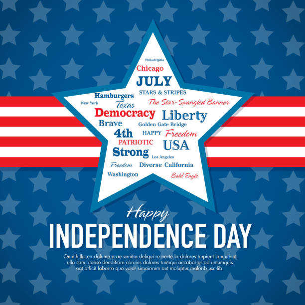 happy fourth of july celebration greeting card design template - family 4th of july 幅插畫檔、美工圖案、卡通及圖標