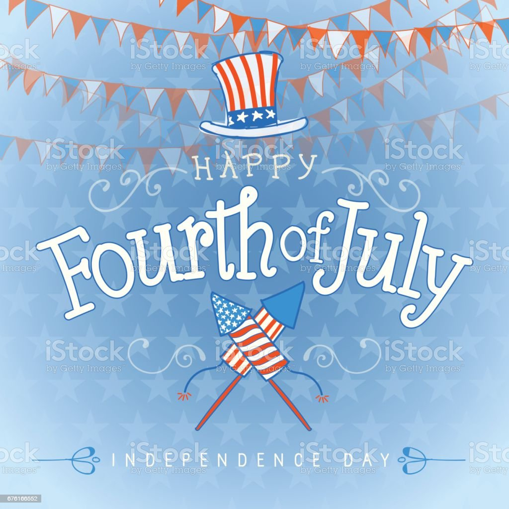 Happy Fourth of july Hand lettering vector art illustration