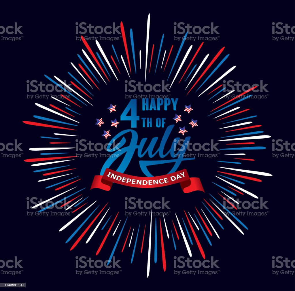 Happy fourth of July Independence day USA  handwritten phrase with stars, American flag and firework. Happy fourth of July Independence day USA  handwritten phrase with stars, American flag and firework. Vector lettering illustration. American Culture stock vector