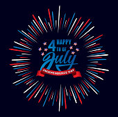 Happy fourth of July Independence day USA  handwritten phrase with stars, American flag and firework. Vector lettering illustration.