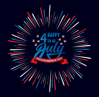 Happy Fourth Of July Independence Day Usa Handwritten Phrase With Stars American Flag And Firework Stock Illustration - Download Image Now