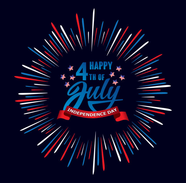 happy fourth of july independence day usa  handwritten phrase with stars, american flag and firework. - happy 4th of july stock illustrations