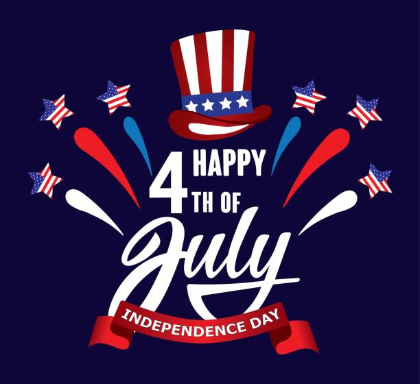 Happy fourth of July Independence day USA  handwritten phrase with stars, American flag, hat of uncle Sam and firework. vector art illustration