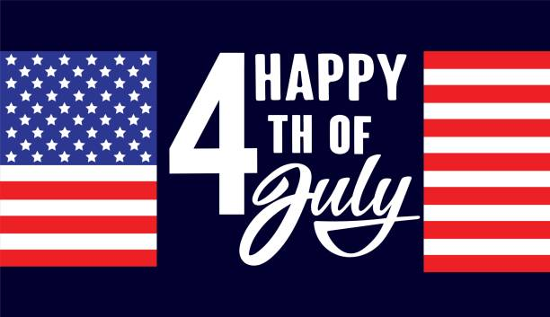 Happy fourth of July Independence day USA  handwritten phrase with American flag on dark blue background. vector art illustration