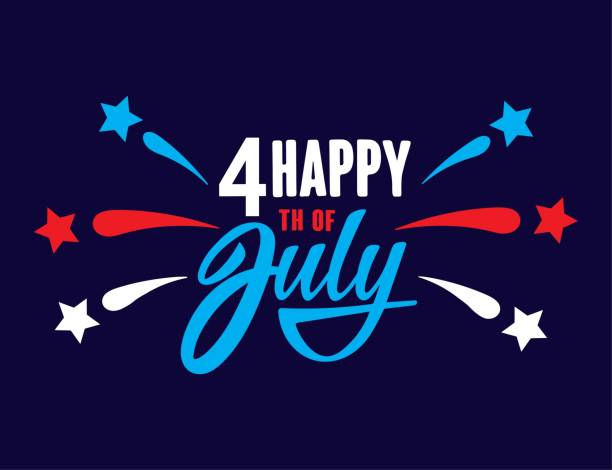 Happy fourth of July Independence day USA  handwritten phrase with stars and firework. Vector lettering illustration. vector art illustration