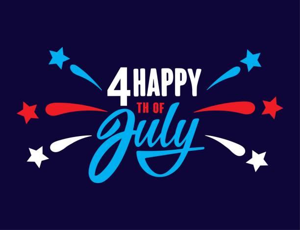 快樂的7月4日獨立日美國手寫短語與明星和煙花。向量刻字插圖。 - happy 4th of july 幅插畫檔、美工圖案、卡通及圖標