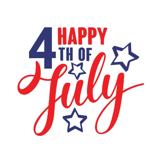 Happy fourth of July Independence day USA  handwritten phrase with stars. vector art illustration