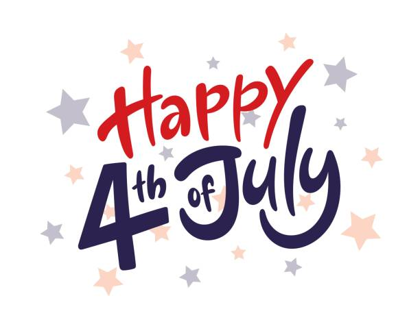 Happy fourth of July Independence day USA  handwritten phrase with stars. Vector lettering illustration. vector art illustration