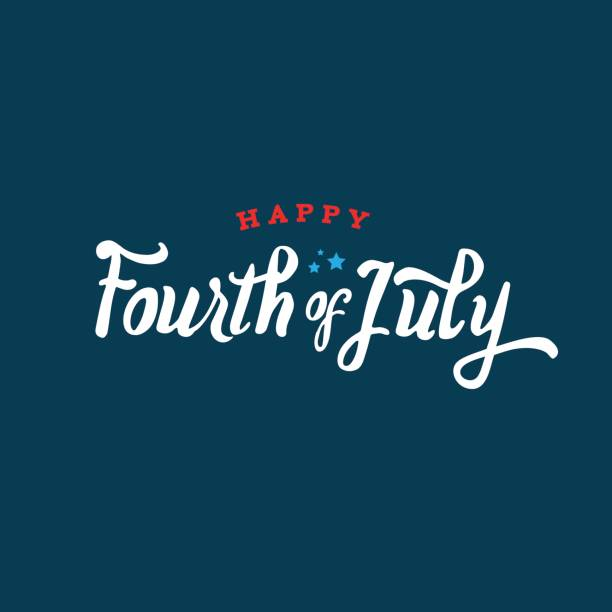 Happy Fourth of July Text Vector vector art illustration