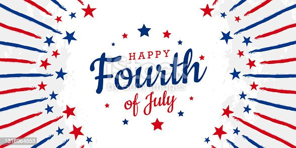 istock Happy Fourth of July trendy lettering design with stars on starburst retro brush, grunge, vintage background in United States national flag color 1316964553