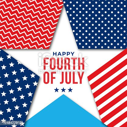 Happy Fourth of July - United Stated independence day greeting. Design for advertising, poster, banners, leaflets, card, flyers and background. Stock illustration