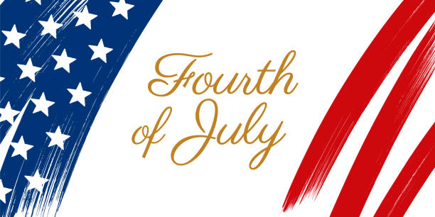 Happy Fourth of July - United Stated independence day greeting. Happy Fourth of July - United Stated independence day greeting. - Illustration circa 4th century stock illustrations