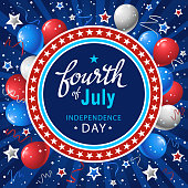 Fouth of july symbol in front of the blue star background.