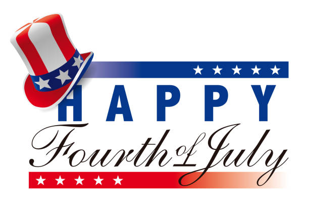 happy fourth of july with american top hat - anniversary clipart stock illustrations