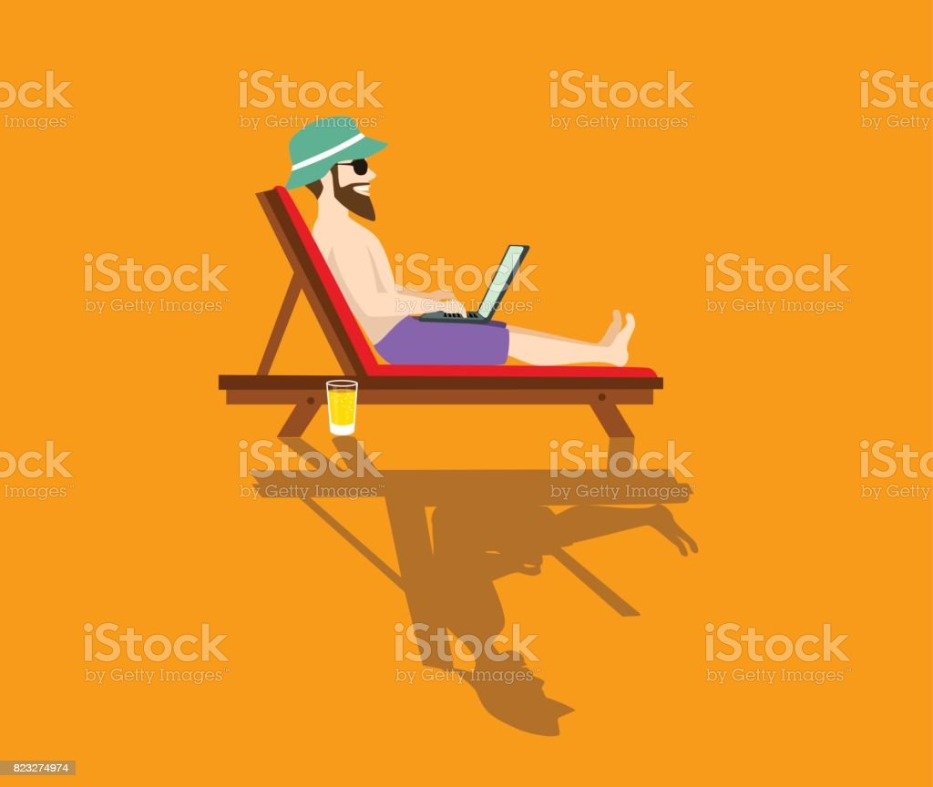 happy freelancer working on pc on the beach stylized vector illustration vector art illustration