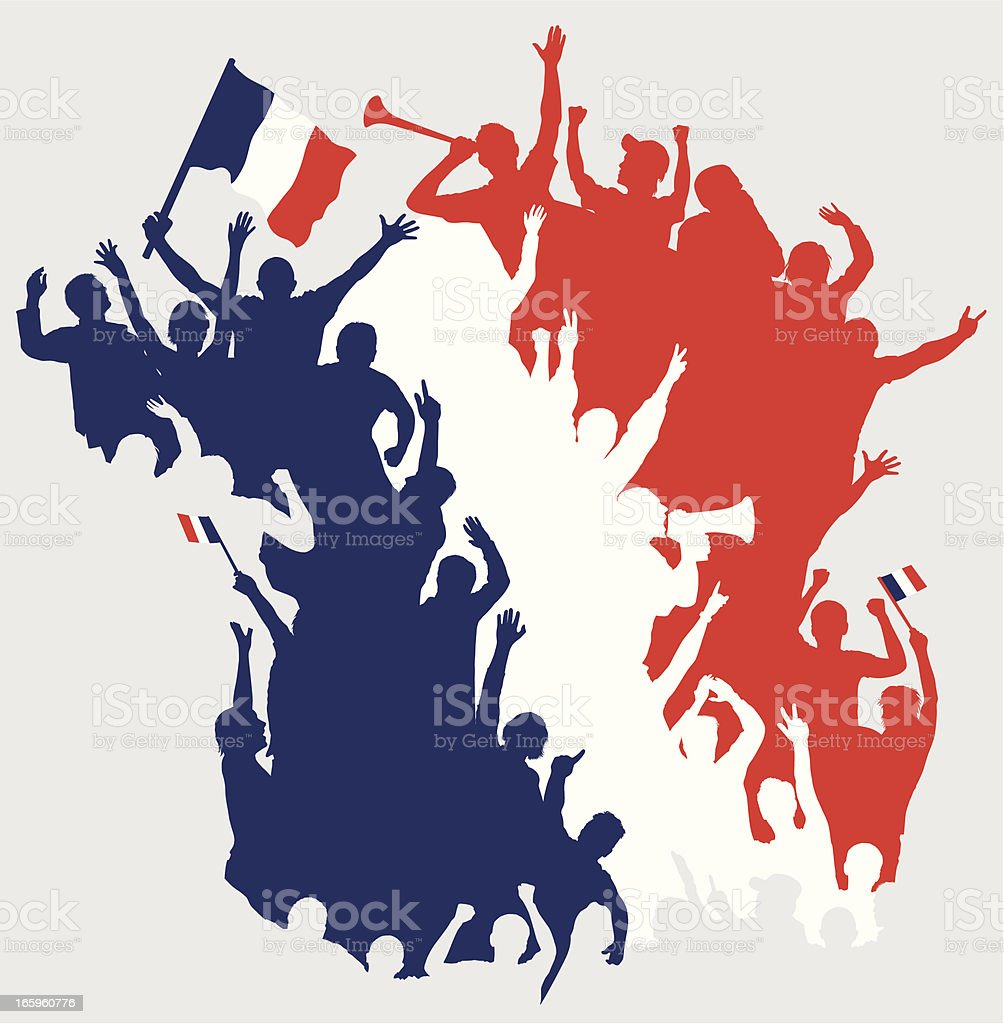 Happy French Fans in Shape of France Map. vector art illustration