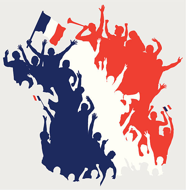 happy-fans in form von frankreich karte. - fussball fan stock-grafiken, -clipart, -cartoons und -symbole
