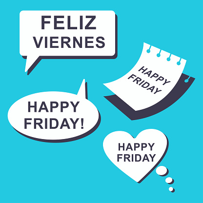 Happy Friday speech bubble and paper sheet. Vector icons isolated on blue background.