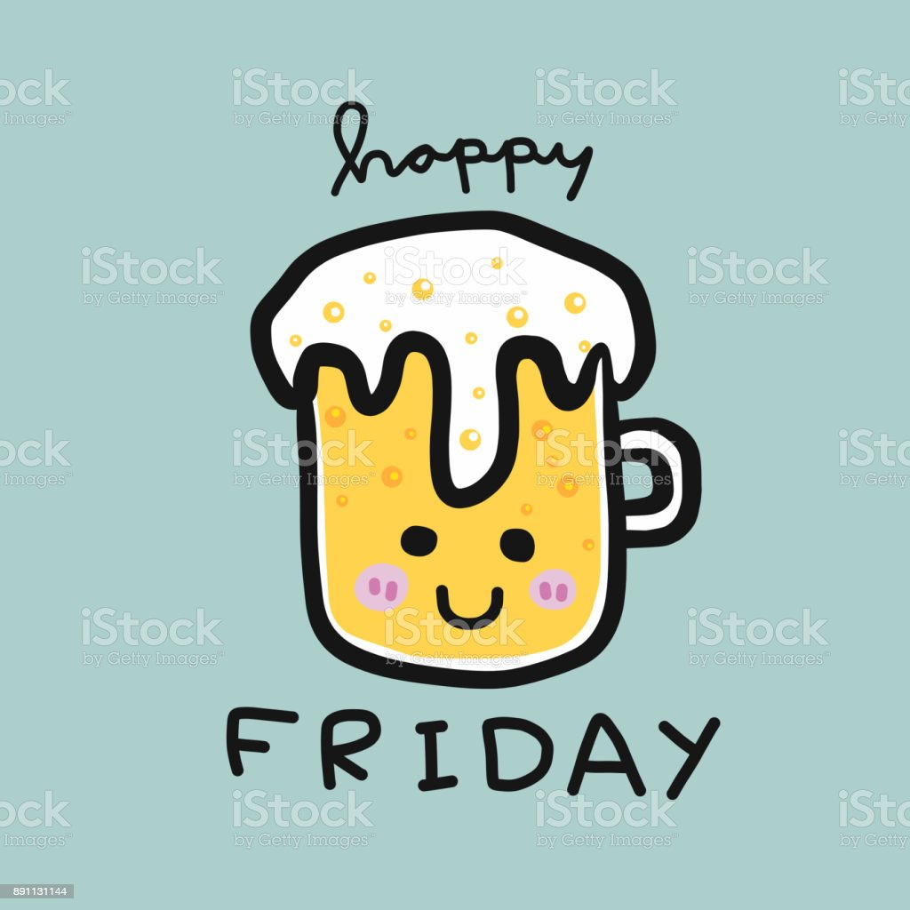 Happy Friday Word And Cold Beer Glass Smile Cartoon Stock Vector Art
