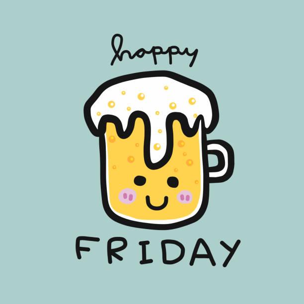 stockillustraties, clipart, cartoons en iconen met gelukkige vrijdag word en koud bier glas glimlach cartoon - fresh start yellow